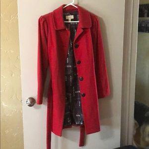 Red fleece trench coat by Merona